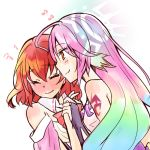 2girls artist_request bare_shoulders blush bow bowtie breasts bridal_gauntlets closed_mouth detached_collar dress eyes_closed gloves gradient_hair halo hand_holding jibril_(no_game_no_life) large_breasts long_hair magic_circle multicolored_hair multiple_girls no_game_no_life orange_eyes pink_hair red_hair short_hair smile source_request stephanie_dora tattoo very_long_hair wavy_mouth wing_ears