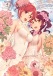 2girls :d alternate_hairstyle arch bell_tower bouquet breasts choker commentary_request dress elbow_gloves eyebrows_visible_through_hair flower gloves hair_bun hair_flower hair_ornament halter_dress holding holding_bouquet love_live! love_live!_school_idol_project love_live!_sunshine!! medium_breasts multiple_girls nagareboshi nishikino_maki open_mouth orange_flower orange_rose outdoors petals pink_flower pink_rose purple_eyes red_hair rose sakurauchi_riko see-through side_ponytail sideboob smile sparkle wedding wedding_dress white_choker white_dress white_flower white_gloves wife_and_wife yellow_eyes yellow_flower yuri