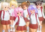 3d 6+girls backpack bag black_hair blonde_hair blush bow bow_legwear brown_eyes brown_hair child closed_mouth double_bun eyes_closed female flat_chest kneehighs kuroi_serika_(st205yat) long_hair long_sleeves looking_at_viewer mary_janes multiple_girls one_eye_closed original pink_eyes pink_hair ponytail randoseru shiny shiny_hair shirt skirt smile standing twintails white_shirt white_sleeves
