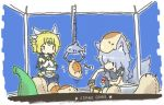2girls asimofu blonde_hair crane_game female kyu_(creature) milia milia_wars multiple_girls puki_(creature) sachiho short_hair wolf_ears wolf_tail