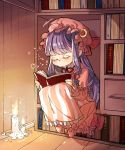 book bookshelf bow candle currypang dress eyes_closed hat hat_bow highres long_hair mob_cap moon_(ornament) patchouli_knowledge pink_dress purple_hair sitting sleeping sleeping_upright touhou very_long_hair