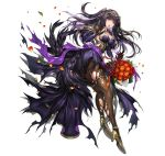 1girl alternate_costume black_hair bouquet breasts cleavage detached_sleeves dress fire_emblem fire_emblem:_kakusei fire_emblem_heroes flower high_heels long_hair official_art pantyhose senchat shawl simple_background solo tharja tiara torn_clothes torn_pantyhose