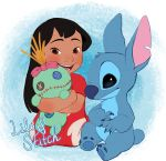 4_fingers alien bangs black_hair blue_claws blue_eyes blue_fur blue_nose blush brown_eyes button_eyes character_name chest_tuft claws clothed clothing disney experiment_(species) fur hair head_tuft holding_object human inanimate_object lilo_and_stitch lilo_pelekai long_hair looking_at_viewer mammal muumuu notched_ear nude nyoncat open_mouth open_smile ragdoll scrump small_tail smile stitch tuft url watermark