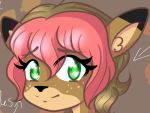 alice_(doe)_character anonymous_artist anthro cervine female feral freckles green_eyes mammal portrait solo