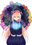 1girl abigail_williams_(fate/grand_order) bangs black_bow black_dress black_hat blonde_hair blue_eyes blue_flower blue_rose bow bug butterfly closed_mouth commentary_request dress eyebrows_visible_through_hair fate/grand_order fate_(series) floating flower forehead glowing hair_bow hands_up hat highres hiiro_yuya insect key long_hair long_sleeves looking_away looking_down orange_bow parted_bangs pink_flower pink_rose polka_dot polka_dot_bow purple_flower purple_rose red_flower red_rose rose sleeves_past_fingers sleeves_past_wrists solo very_long_hair white_background yellow_flower yellow_rose