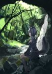 1girl animal_ears forest inubashiri_momiji nature profile red_eyes sitting solo tail touhou water waterfall wolf_ears wolf_tail yagi_(sinnsyou)