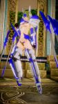 1girl 3d bikini_armor blazblue blonde_hair breasts crotch_plate cyborg mu-12 revealing_clothes small_breasts sword