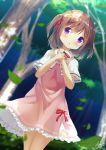 1girl bangs blurry blurry_background blush brown_hair capelet chinomaron commentary_request day depth_of_field dress dutch_angle eyebrows_visible_through_hair flower_knight_girl forest hair_between_eyes hands_up highres leaf long_hair nature outdoors own_hands_together parted_lips pink_dress purple_eyes red_neckwear signature solo tree tsutsuji_(flower_knight_girl) two_side_up white_capelet