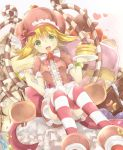 1girl amitie_(puyopuyo) blonde_hair bow brown_dress candy candy_cane cream cream_on_face dress food food_on_face food_themed_hair_ornament fork frilled_dress frills fruit green_eyes hair_ornament hat heart heart-shaped_pupils heart_background holding holding_fork holding_plate horizontal-striped_legwear looking_at_viewer open_mouth pancake pink_bow plate puffy_short_sleeves puffy_sleeves puyopuyo rento_(rukeai) short_hair short_sleeves sitting smile solo star strawberry strawberry_hair_ornament sweet_amitie symbol-shaped_pupils thighhighs white_background