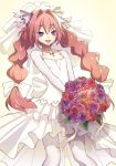 1boy artist_name astolfo_(fate) blush bouquet bow bridal_veil bride collarbone dress eudetenis eyebrows_visible_through_hair fate/apocrypha fate_(series) floral_print flower hair_bow hair_intakes highres jewelry long_hair low_twintails male_focus multicolored_hair necklace open_mouth otoko_no_ko pantyhose pink_flower pink_hair pink_rose purple_eyes purple_flower purple_rose red_flower red_rose rose shrug_(clothing) smile solo streaked_hair trap twintails veil very_long_hair wedding_dress white_bow white_dress