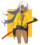 1girl absurdres belt black-framed_eyewear black_gloves brown_eyes closed_mouth commentary_request cropped_legs dark_skin fingerless_gloves fingernails floating_hair glasses gloves gun handgun highres holding holding_gun holding_weapon hood hood_down hoodie kumonji_aruto long_hair looking_away multicolored_hair nail_polish orange_background original revolver scabbard semi-rimless_eyewear sheath smile solo standing streaked_hair sword under-rim_eyewear unzipped weapon white_hair white_nails yellow_hoodie