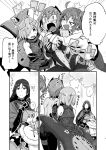 >_< 5girls ? ahoge bare_shoulders blush breasts comic dark_skin fate/grand_order fate_(series) fingerless_gloves fujimaru_ritsuka_(female) glomp gloves greyscale hair_over_one_eye hassan_of_serenity_(fate) hug jeanne_d'arc_(fate)_(all) jeanne_d'arc_alter_santa_lily jeanne_d'arc_(fate)_(all) jeanne_d'arc_alter_santa_lily large_breasts long_hair looking_at_another mash_kyrielight medium_hair minamoto_no_raikou_(fate/grand_order) monochrome multiple_girls open_mouth page_number revealing_clothes sample shield spoken_ellipsis spoken_question_mark star sweat torichamaru translation_request underboob