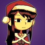 1girl absurdres black_eyes black_hair christmas commission highres komi-san_wa_komyushou_desu komi_shouko long_hair looking_at_viewer purple_background santa_costume setz