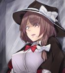 1girl black_hat bow bowtie breasts brown_hair capelet constricted_pupils hat hat_bow highres large_breasts lips lipstick looking_at_viewer makeup open_mouth pink_lips red_neckwear tearing_up touhou translation_request usami_renko usutominsutaa witch_hat