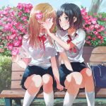 2girls bag bench blush breasts flower fly_(marguerite) long_hair multiple_girls original ribbon short_hair skirt smile socks uniform
