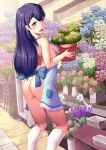 1girl apron ass black_hair blue_eyes breasts flower_pot from_behind harihisa hugtto!_precure long_hair looking_at_viewer naked_apron open_mouth plant potted_plant precure sideboob socks solo standing yakushiji_saaya