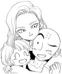 1boy 2girls ;d ^_^ android_18 bald black_eyes close-up commentary couple dragon_ball dragonball_z earrings english_commentary eyelashes eyes_closed face family father_and_daughter fingernails happy hetero hug hug_from_behind image_sample jewelry kuririn looking_at_another marron monochrome mother_and_daughter multiple_girls one_eye_closed open_mouth short_hair simple_background smile tkgsize twitter_sample twitter_username upper_body white_background