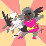 aggressive_retsuko anthro ape avian avielsusej bird black_skirt blush clothing dress_shirt duo female gori_(aggressive_retsuko) gorilla high_heeled_shoes jewelry lipstick makeup mammal necklace pink_dress pink_shoes primate shirt skirt washimi white_shirt