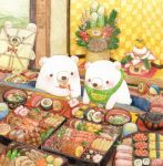 animal bear bib blush bow bowl bowtie chopsticks colored_pencil_(medium) food holding holding_chopsticks indoors looking_at_another no_humans obentou original red_neckwear sashimi signature sitting st.kuma sushi traditional_media watercolor_(medium)