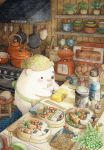 animal bear blush bow bowtie bread colored_pencil_(medium) cutting_board egg food highres holding holding_knife indoors kettle kitchen knife looking_away no_humans obentou onigiri original pink_neckwear pot scale scissors shelf signature spatula st.kuma stove toaster_oven traditional_media watercolor_(medium)