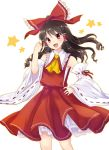 1girl :d bow brown_hair detached_sleeves eyebrows_visible_through_hair floating_hair hair_between_eyes hair_bow hair_tubes hakurei_reimu hand_on_hip head_tilt highres long_hair monrooru open_mouth red_bow red_eyes red_shirt red_skirt ribbon-trimmed_sleeves ribbon_trim sarashi shirt simple_background skirt smile solo standing touhou white_background