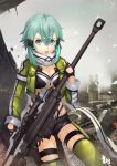 1girl aqua_eyes aqua_hair black_gloves black_shorts breasts cleavage cloud fingerless_gloves gloves green_jacket green_legwear grey_scarf gun hair_between_eyes hair_ornament hairclip highres holding holding_gun holding_weapon insoom jacket leotard looking_at_viewer medium_breasts open_clothes open_jacket open_mouth outdoors pgm_hecate_ii ruins scarf shinon_(sao) short_hair_with_long_locks short_shorts shorts sidelocks solo sword_art_online thigh_strap thighhighs torn_scarf weapon