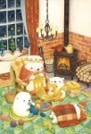animal basket bear blanket blush book chair chandelier colored_pencil_(medium) fireplace firewood highres indoors kettle knitting knitting_needle looking_at_another looking_away needle night no_humans original sitting sleeping st.kuma toy_car traditional_media watercolor_(medium) window yarn yarn_ball