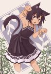 1girl animal_ears armpits bracelet brown_dress brown_hair cat_ears character_request copyright_request dark_skin dress fang feet_out_of_frame grey_eyes hair_ornament hairclip highres jewelry kaginoni leaning_forward open_mouth paw_pose plant sleeveless sleeveless_dress solo spaghetti_strap