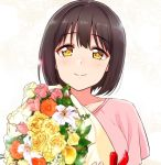 1girl black_hair bouquet chrysanthemum closed_mouth collarbone commentary flower idolmaster idolmaster_cinderella_girls jewelry lily_(flower) looking_at_viewer necklace pink_shirt rose shirt short_hair smile solo takafuji_kako tokita_arumi tulip yellow_eyes yellow_flower yellow_rose