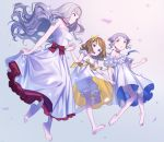 3girls barefoot bloomers blue_eyes brown_hair choker dress full_body hair_ornament hand_holding idolmaster idolmaster_million_live! long_hair makabe_mizuki mimizubare multiple_girls open_mouth purple_hair red_eyes ribbon shijou_takane short_hair silver_hair suou_momoko underwear white_dress yellow_eyes