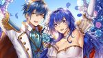 1boy 1girl bare_shoulders blue_eyes blue_hair blush bouquet bridal_veil bride cape dress elbow_gloves fire_emblem fire_emblem:_monshou_no_nazo flower formal gloves hair_flower hair_ornament jewelry long_hair looking_at_viewer marth necklace pegasus_knight sheeda short_hair smile solo strapless strapless_dress suit tiara tuxedo veil wanini wedding wedding_dress white_dress wife_and_wife