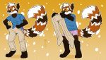2018 ailurid anthro brown_fur clothed clothing crownedvictory fur jakemi male mammal meme multicolored_fur pants red_panda sequence simple_background smile solo underwear undressing white_fur