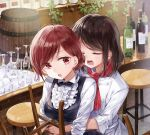 2girls bar bar_stool barrel black_hair black_neckwear bottle bow bowtie center_frills collared_shirt commentary_request counter cup double-breasted drinking_glass eyes_closed hair_bun hug hug_from_behind multiple_girls neckerchief open_mouth original plant red_eyes red_neckwear shirt short_hair sleeves_folded_up stool vines white_shirt wine_bottle wine_glass yukiko_(tesseract) yuri