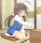 1girl 22m ahoge bangs blue_dress blue_eyes blush board_game brown_hair crying dress embarrassed eyebrows_visible_through_hair female frilled_dress frills full_body hand_up hinatsuru_ai indoors japanese_text kneeling legs_together long_hair long_sleeves nose_blush open_mouth outstretched_arm peeing peeing_self ryuuou_no_oshigoto! scrunchie seiza shiny_hair shirt short_over_long_sleeves shougi shougi_piece sitting sleeveless_dress solo steam tears tied_hair translation_request twintails wet_clothes white_shirt