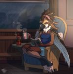 avian beverage bird blue_eyes book chair clothed clothing female furgonomics hot_chocolate inside june legwear neck_tuft raining relaxing shirt shorts sitting smile socks solo sparrow table tank_top tsukinori tuft window