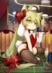 1girl absurdly_long_hair absurdres ahoge akashi_(azur_lane) alcohol animal_ears azur_lane backless_outfit bangs bare_shoulders between_legs bow bowtie brown_legwear bunny_tail bunnysuit cat_ears champagne champagne_flute ciciya commentary_request cup dice_hair_ornament drinking_glass eyebrows_visible_through_hair fingernails green_hair hair_between_eyes hair_bow hair_ornament hand_between_legs highres holding holding_tray indoors leotard long_hair poker_chip red_bow red_leotard red_neckwear roulette_table sample sidelocks signature solo sparkle strapless strapless_leotard striped striped_bow tail thighhighs tray very_long_hair wrist_cuffs yellow_eyes