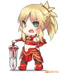 1girl :d armor bangs bare_shoulders black_legwear blonde_hair blush boots braid breastplate chibi dated dreamusun eyebrows_visible_through_hair fang fate/apocrypha fate/grand_order fate_(series) green_eyes hand_on_hilt hand_on_hip long_hair mordred_(fate) mordred_(fate)_(all) navel open_mouth ponytail red_armor red_footwear sidelocks signature smile solo standing sword thighhighs weapon white_background