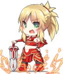 1girl :d armor bangs bare_shoulders black_legwear blonde_hair blush boots braid breastplate chibi commentary_request dated dreamusun eyebrows_visible_through_hair fang fate/apocrypha fate/grand_order fate_(series) fire green_eyes hand_on_hilt hand_on_hip long_hair mordred_(fate) mordred_(fate)_(all) navel open_mouth ponytail red_armor red_footwear sidelocks signature smile solo standing sword thighhighs weapon white_background