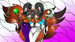 2017 abstract_background anthro big_breasts big_tail black_fur black_hair black_nose breasts brown_eyes cleavage clothed clothing digital_media_(artwork) duo female fur gradient_background grey_eyes hair holding_object holding_staff inner_ear_fluff kitt_kitten looking_at_viewer mammal multicolored_clothing one_eye_closed orange_breasts orange_ears orange_fur orange_tail purple_clothing red_panda simple_background smile two_tone_clothing white_clothing wink