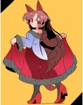 1girl animal_ears black_legwear brown_hair closed_mouth dress from_behind high_heels imaizumi_kagerou ini_(inunabe00) long_hair long_sleeves looking_at_viewer pantyhose red_dress red_eyes red_footwear see-through_silhouette solo tail touhou wolf_ears wolf_tail