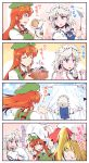 3girls 4koma beret blonde_hair blue_eyes blush braid china_dress chinese_clothes comic commentary commentary_request cooking dress flandre_scarlet frilled_shirt_collar frills from_behind green_hat hat hat_ribbon headdress highres holding holding_hat hong_meiling izayoi_sakuya jewelry kitsune_maru long_hair looking_at_viewer maid maid_headdress mob_cap multiple_girls necklace needle orange_eyes pink_shirt red_hair ribbon salt sewing sewing_kit sewing_needle shirt short_hair side_ponytail silver_hair star sweatdrop tangzhuang touhou translation_request twin_braids wrist_cuffs