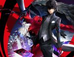 1boy amamiya_ren arsene_(persona_5) badluck bangs black_eyes black_hair black_pants gloves gun hair_between_eyes hair_over_one_eye highres holding holding_gun holding_weapon looking_at_viewer male_focus pants persona persona_5 red_gloves standing weapon