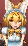 1girl :d alternate_costume animal_ears blonde_hair bow breasts breasts_on_tray center_frills commentary_request enmaided eyebrows_visible_through_hair eyes_visible_through_hair hair_between_eyes highres kemono_friends looking_at_viewer maid maid_headdress medium_breasts open_mouth orange_eyes print_bow puffy_short_sleeves puffy_sleeves serval_(kemono_friends) serval_ears serval_print serval_tail short_hair short_sleeves signature simple_background smile solo tail tray welt_(kinsei_koutenkyoku)