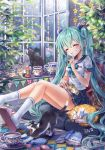 1girl absurdres ahoge aqua_hair blush book bow bowtie brick_wall cat cup eyebrows_visible_through_hair eyes_closed finger_to_mouth flower grin hair_between_eyes hatsune_miku highres hydrangea indoors jewelry long_hair pleated_skirt ring school_uniform serafuku sitting skirt slippers smile socks star stretch teacup twintails very_long_hair vocaloid window yawning zenyu