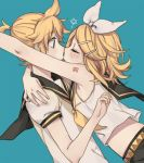 1boy 1girl arm_around_neck arm_tattoo bare_shoulders blonde_hair blue_eyes blush bow brother_and_sister crop_top elbow eyes_closed formalin glomp hair_bow hair_ornament hairclip hand_on_another's_shoulder hug imminent_hug imminent_kiss incest kagamine_len kagamine_rin leaning_forward midriff nail_polish number_tattoo open_eyes profile sailor_collar short_hair short_ponytail shorts siblings surprised tattoo twincest twins upper_body vocaloid yellow_nails yellow_neckwear