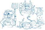 anthro big_breasts blue_and_white bovine breasts cam_(artist) cattle clothed clothing collar cow_(cow_and_chicken) cow_and_chicken cowbell english_text female food fully_clothed fur hair hat holding_object horn long_tail lying mammal monochrome musical_note nude on_side overalls pitchfork simple_background sketch_sheet sleeping sound_effects spots spotted_fur teats text udders wardrobe_malfunction white_background zzz