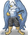 abs anthro avian beak biceps big_muscles bird blue_feathers clothed clothing falcon feathers looking_at_viewer male manly muscular muscular_male open_mouth pecs phoom shorts solo topless