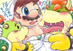 2017 age_difference blush bowser bowser_jr. clothed clothing crossdressing group hand_on_head human japanese_text kakalon koopa licking male male/male mammal mario mario_bros nintendo nipple_lick nipples saliva scalie simple_background size_difference sweat text tongue tongue_out video_games