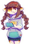 anthro bored brown_hair cat clothed clothing cosplay eyewear feline female food_on_face front_view frown fully_clothed fur glasses hair hair_ornament heartthrob_cafe hi_res holding_object hoodie idolmaster idolmaster_cinderella_girls irootie mammal mimi_(irootie) miyoshi_sana nintendo nintendo_ds no_pupils no_sclera pigtails pink_nose pink_tongue playing_games portrait red_eyes solo spots spotted_fur square_glasses three-quarter_portrait tongue tongue_out video_games white_fur