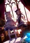 2girls 54hao :d animal_ears bangs black_footwear black_legwear black_shirt blue_flower blue_footwear blue_rose blurry blurry_foreground closed_mouth commentary curtains day depth_of_field dress dutch_angle eyebrows_visible_through_hair flower forehead hand_holding highres indoors kemonomimi_mode loafers long_hair long_sleeves looking_at_viewer multiple_girls open_mouth original pantyhose parted_bangs pink_flower pink_rose purple_eyes purple_hair rose shadow shirt shoes siblings sisters sleeveless sleeveless_dress smile stained_glass standing stuffed_animal stuffed_toy sunlight teddy_bear twins very_long_hair white_dress white_flower white_hair white_legwear white_rose wide_sleeves window